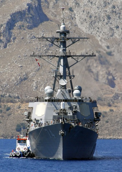 US Navy 080811-N-0780F-001 The guided-missile destroyer USS McFaul (DDG 74) arrives for a routine port visit to Souda Bay