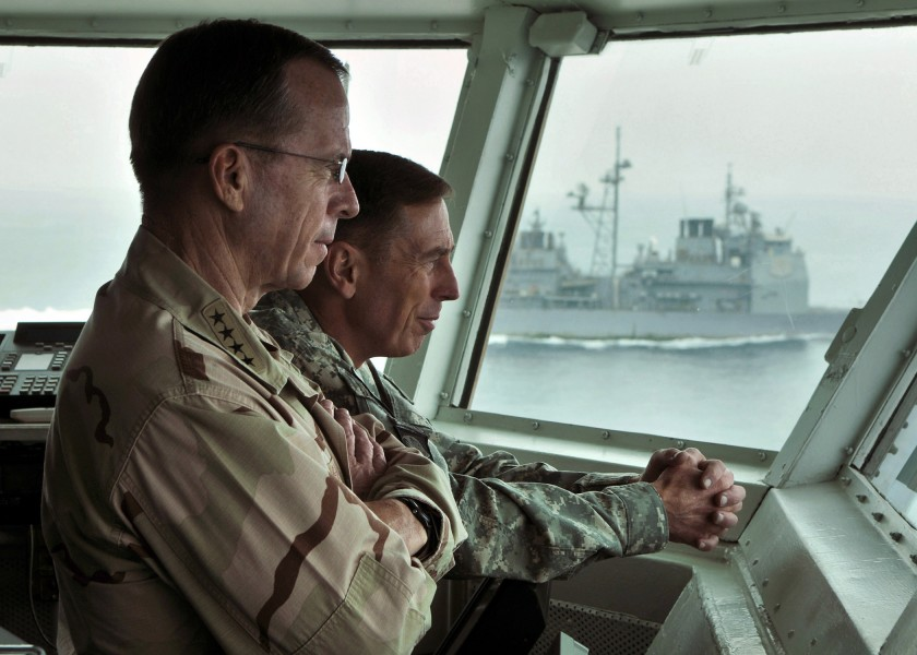 US Navy 080827-N-7981E-028 Chairman, Joint Chiefs of Staff Adm. Mike Mullen and Gen. David Petraeus observe flight operations