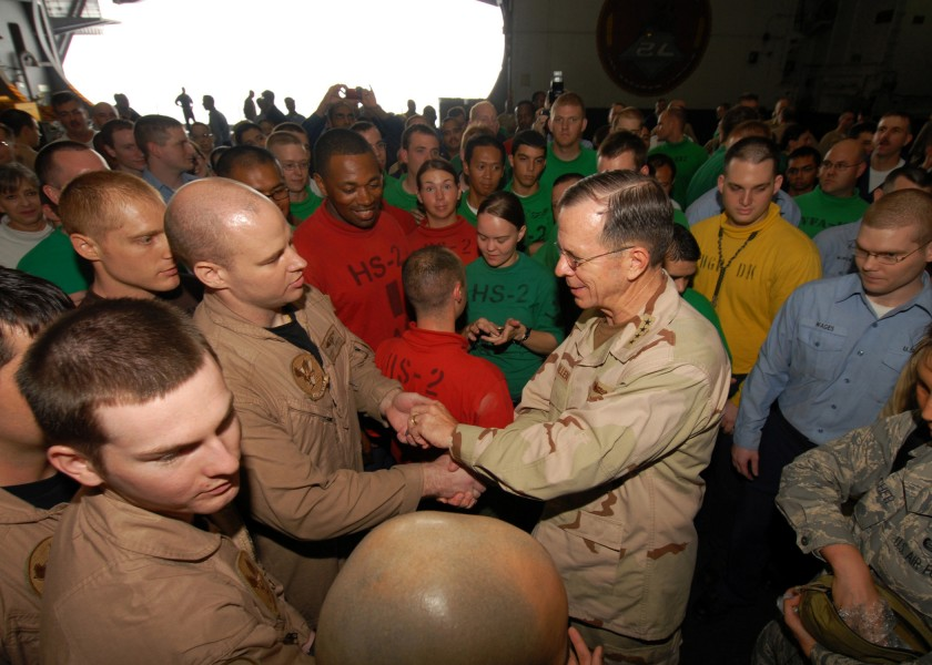 US Navy 080827-N-9079D-032 Chairman, Joint Chiefs of Staff Adm. Mike Mullen meets with Sailors in the hangar bay of the aircraft carrier USS Abraham Lincoln (CVN 72)