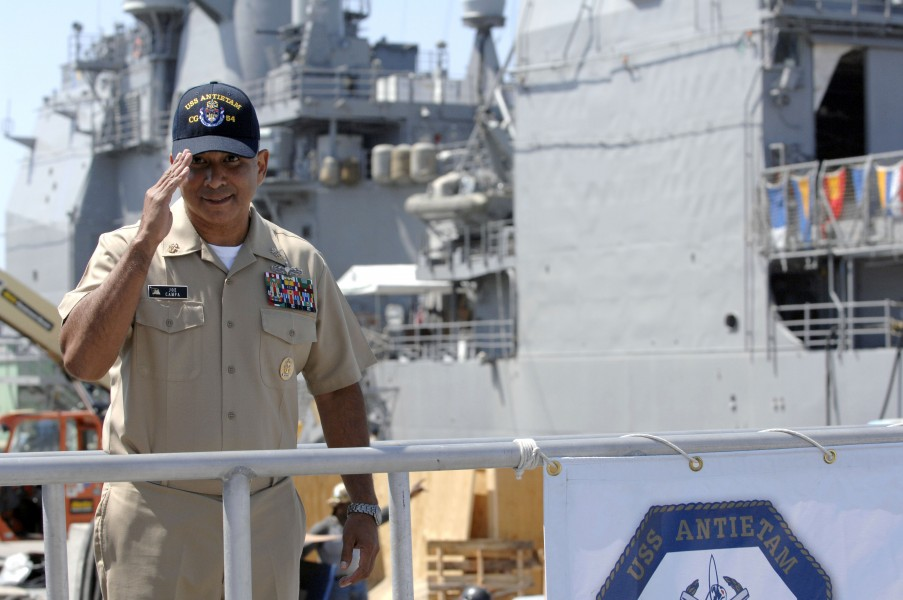 US Navy 080915-N-9818V-395 Master Chief Petty Officer of the Navy (MCPON) Joe R. Campa Jr. departs the guided-missile cruiser USS Antietam (CG 54)