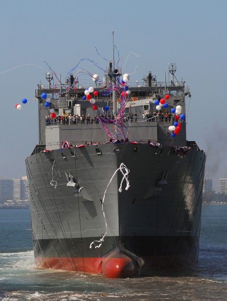 US Navy 080918-N-7643B-093 USNS Carl Brashear (T-AKE 7) launches into San Diego harbor during her christening and launch ceremony at General Dynamics NASSCO in San Diego