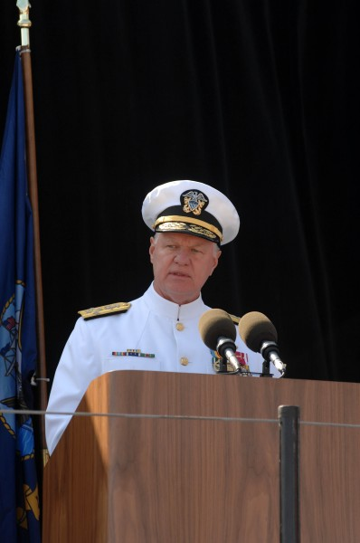 US Navy 080918-N-8273J-078 Chief of Naval Operations (CNO) Adm. Gary Roughead delivers his remarks during the christening and launch ceremony of USNS Carl Brashear (T-AKE 7) at General Dynamics NASSCO shipyard