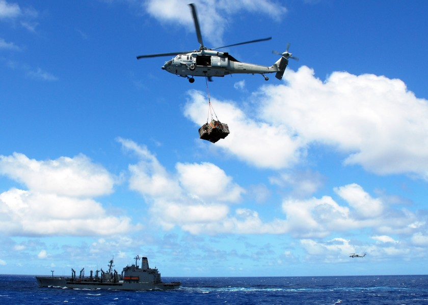 US Navy 080929-N-2183K-040 An MH-60S Sea Hawk carries a cargo pendant