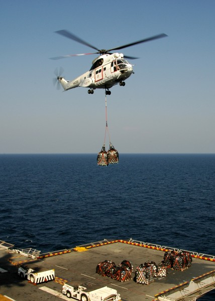 US Navy 081130-N-4236E-044 An SA-330 Puma conducts a vertical replenishment