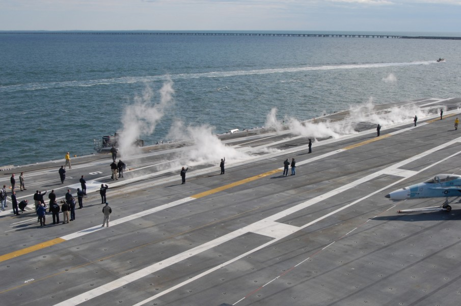 US Navy 090407-N-4669J-042 Sailors assigned to the air department of the aircraft carrier USS George H.W. Bush (CVN 77) test the ship's catapult systems during acceptance trials