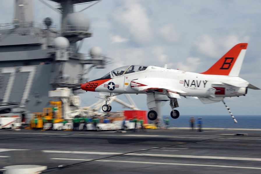 US Navy 090608-N-7656T-096 A T-45A Goshawk training aircraft assigned to Chief of Naval Air Training (CNATRA) comes in for an arrested landing or