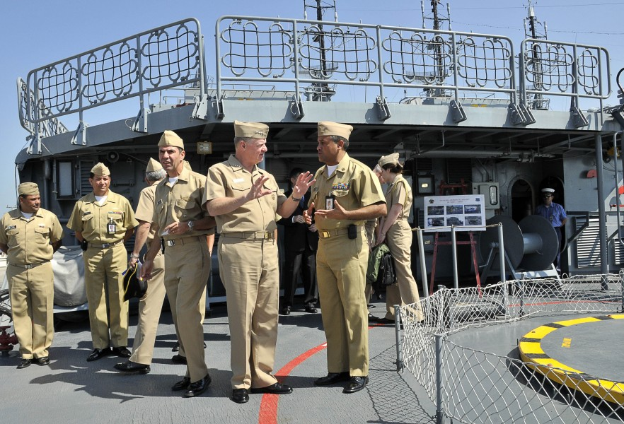 US Navy 091205-N-8273J-097 Chief of Naval Operations (CNO) Adm. Gary Roughead speaks with Capt. Antonio Martinez, commanding officer of the Colombian Navy frigate ARC Antioquia (FL 53)