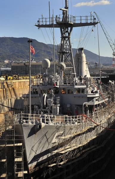 US Navy 100126-N-0807W-004 The mine countermeasures ship USS Guardian (MCM 5) moors in dry-dock at SSK Shipyard in Sasebo, Japan