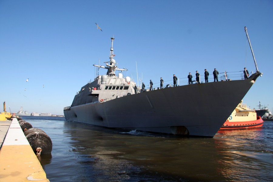 US Navy 100216-N-5060D-135 The littoral combat ship USS Freedom (LCS 1) departs Naval Station Mayport for its first operational deployment