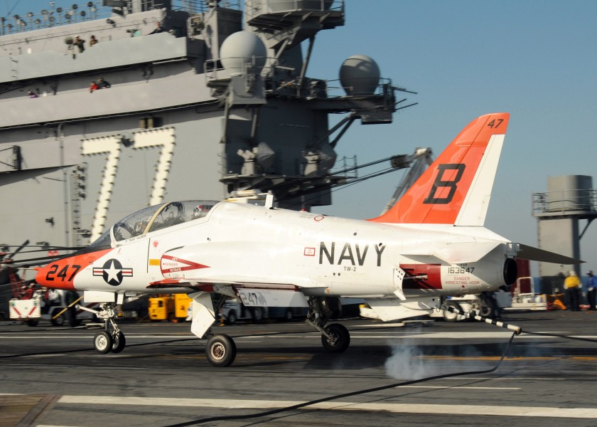 US Navy 100308-N-7908T-375 A T-45B Goshawk training aircraft assigned to Training Wing (TRAWING) 2 lands aboard the aircraft carrier USS George H.W. Bush (CVN 77)