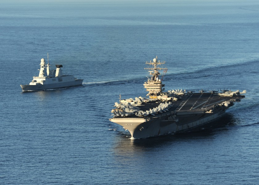 US Navy 101210-N-1261P-007 The aircraft carrier USS Abraham Lincoln (CVN 72), right, and the French navy destroyer Forbin (D 620) are underway toge