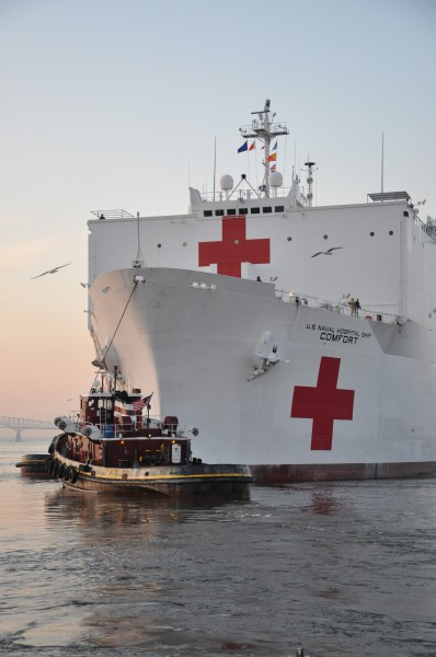US Navy 110317-D-1705P-036 The Military Sealift Command hospital ship USNS Comfort (T-AH 20) departs Baltimore, Md., for a five-month Continuing Pr