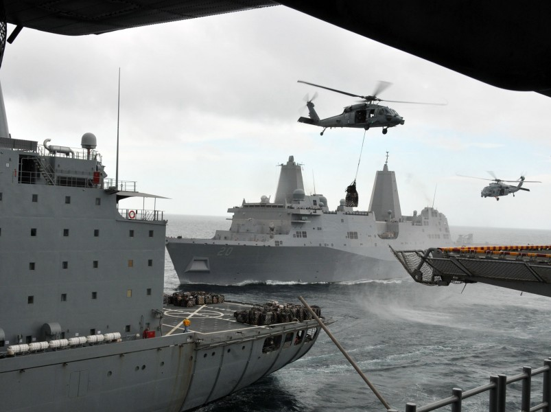 US Navy 110317-N-ZS026-049 Ships conduct a replenishment at sea