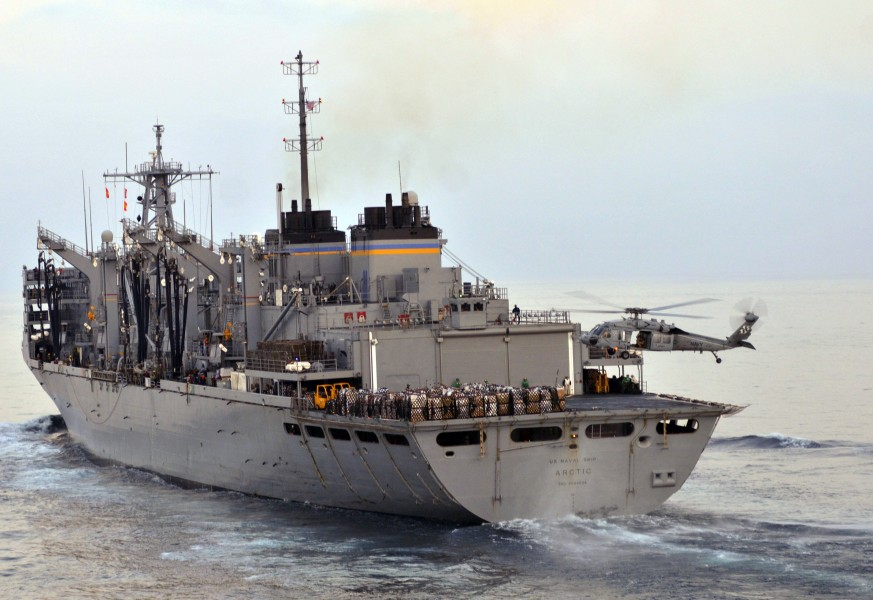 US Navy 110323-N-3852A-029 USNS Arctic (T-AOE 8) approaches SS Enterprise (CVN 65) during an underway replenishment
