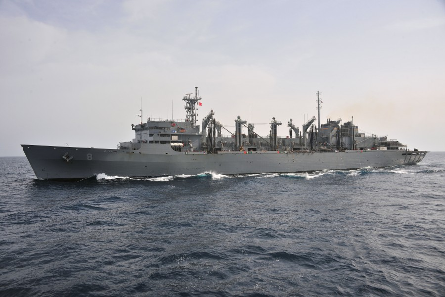 US Navy 110407-N-0074G-007 The Military Sealift command fast combat support ship USNS Arctic (T-AOE 8) prepares to pull alongside the aircraft carr