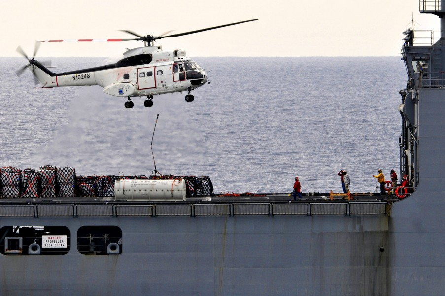 US Navy 110415-N-DM338-044 An SA-330 Puma helicopter assigned to the Military Sealift Command dry cargo and ammunition ship USNS Richard E. Byrd (T
