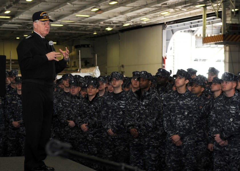 US Navy 110510-N-QN972-033 Chief of Naval Operations (CNO) Adm. Gary Roughead speaks with Sailors aboard USS Abraham Lincoln (CVN 72)
