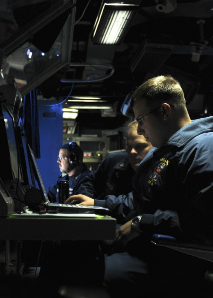US Navy 110513-N-YM590-008 Fire Controlman 2nd Class Timothy R. Reinhardt, assigned to the weapons department of the guided-missile cruiser USS Anz