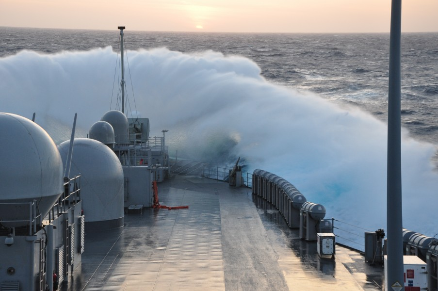 US Navy 110530-N-YY000-001 Waves crash over the bow of the U.S. 7th Fleet command ship USS Blue Ridge (LCC 19) while the ship is underway in the Ph