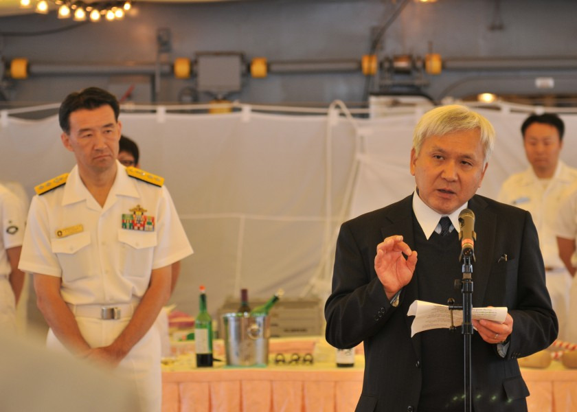 US Navy 110616-N-JY929-110 Kiyokazu Ota, Consulate-General of Japan in Seattle, speaks about American and Japanese relations aboard the Japan Marit