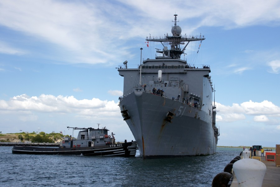 US Navy 111213-N-IQ128-009 USS Oak Hill arrives at Naval Station Guantanamo Bay, Cuba