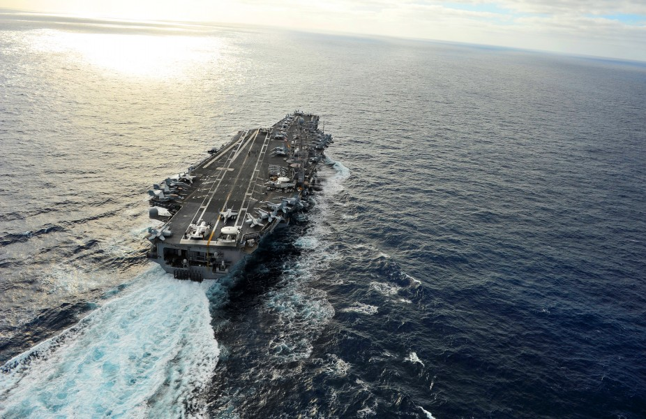 US Navy 111216-N-KQ416-391 The Nimitz-class aircraft carrier USS Abraham Lincoln (CVN 72) is underway on deployment to the 5th and 7th Fleet areas