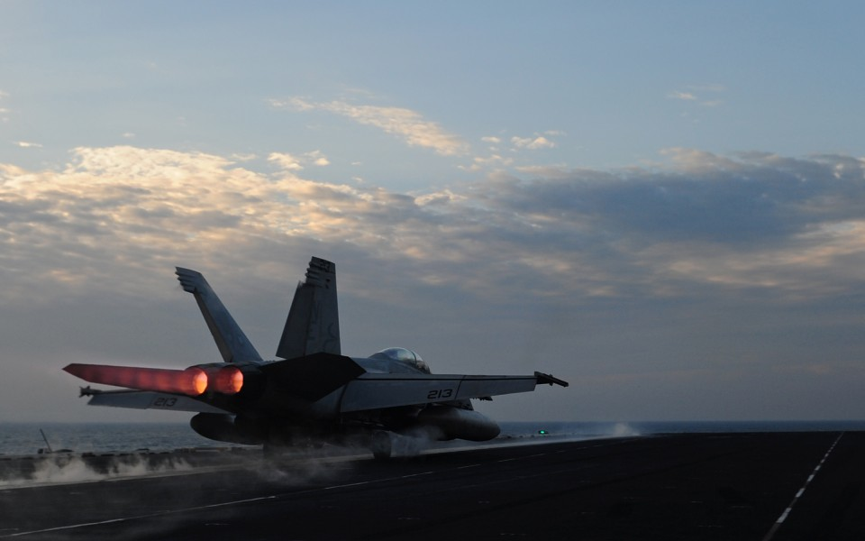 US Navy 120213-N-YL945-122 An F-A-18E Super Hornet assigned to the Kestrels of Strike Fighter Squadron (VFA) 137 launches from the flight deck of t