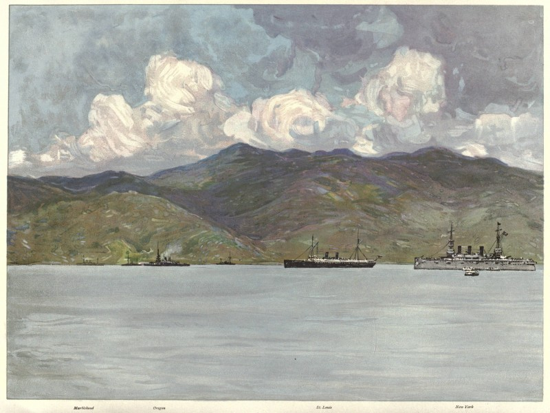 US warships off the coast near Santiago, 06-03-1898