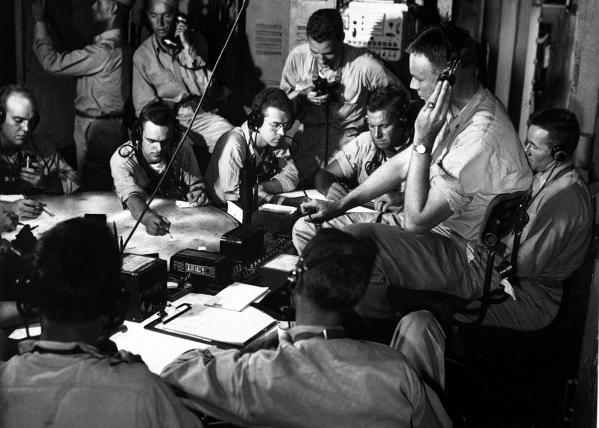 USS Lexington (CV-16) chart room 1943-12