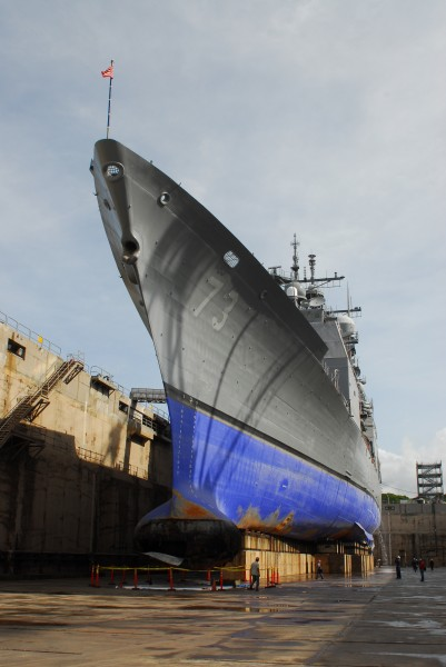 USS Port Royal (CG 73) forward section after grounding in drydock