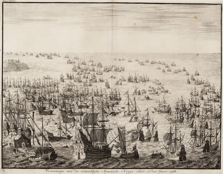 Vertooninge van de ontsachlyke Spaansche krygs vloot, in den jaare 1588 - The mighty display of the Spanish armada in 1588 (Jan Luyken)