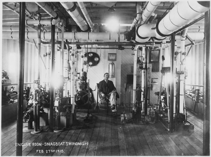 View showing engine room of snagboat SWINOMISH - NARA - 298846