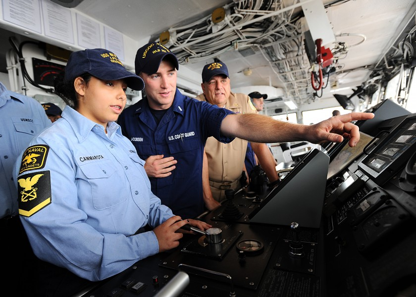 Visitors tour the bridge of the USCGC Juniper -- 110816-G-TG089-341 CGVI