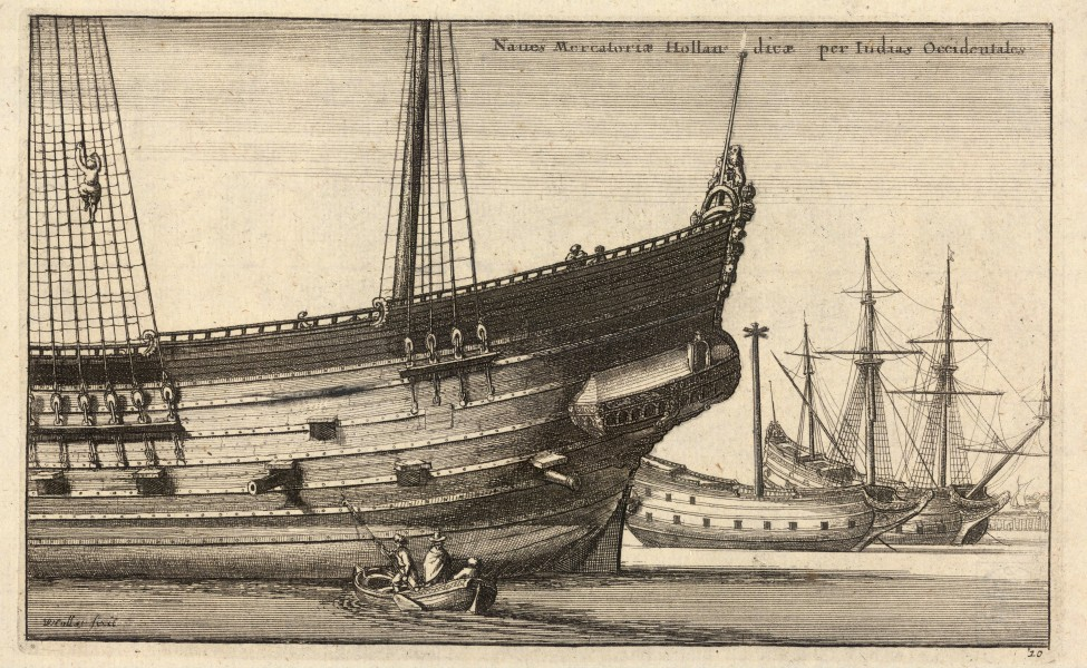 Wenceslas Hollar - Dutch West Indiaman (State 2) 2