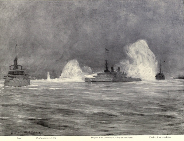 William T. Sampson's Eastern Division firing at Santiago defenses, 6-6-1898