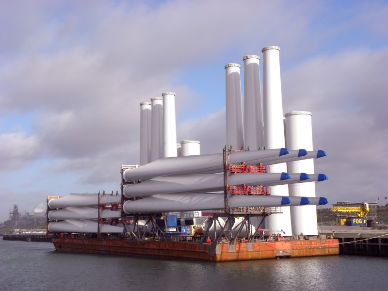 Wind turbines on a barge