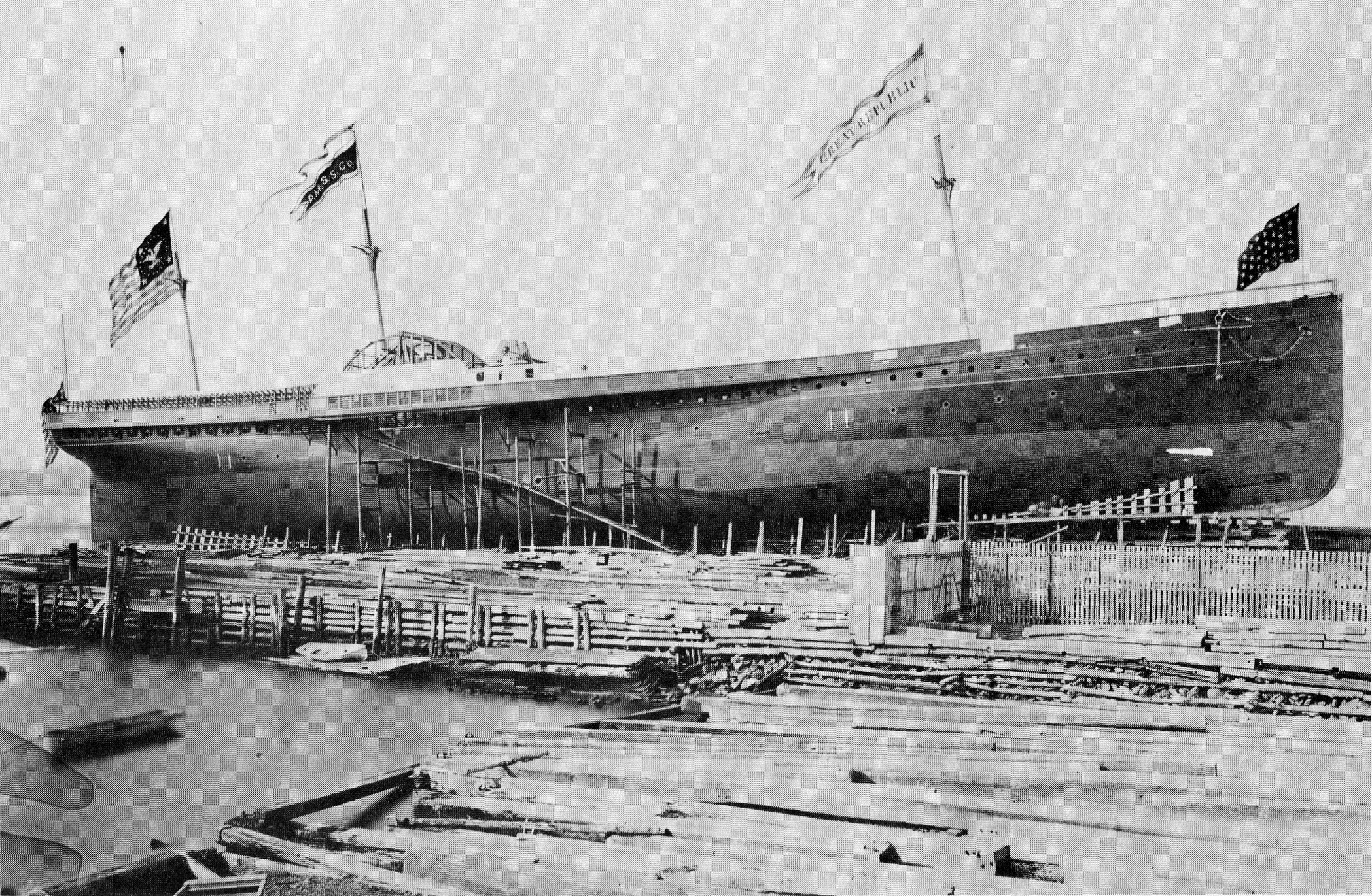 SS Great Republic under construction, 1866