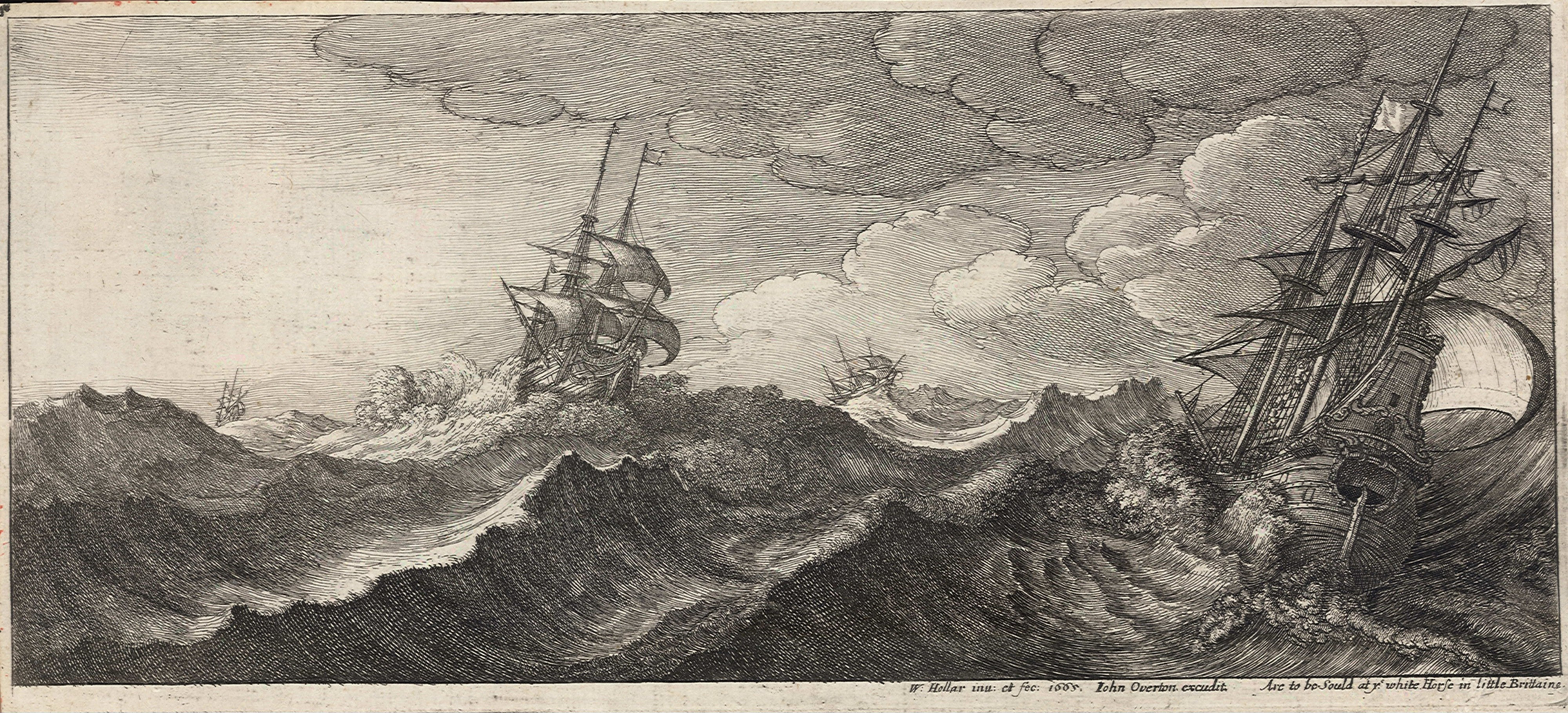 Wenceslas Hollar - Warship in the trough of a wave (State 1)