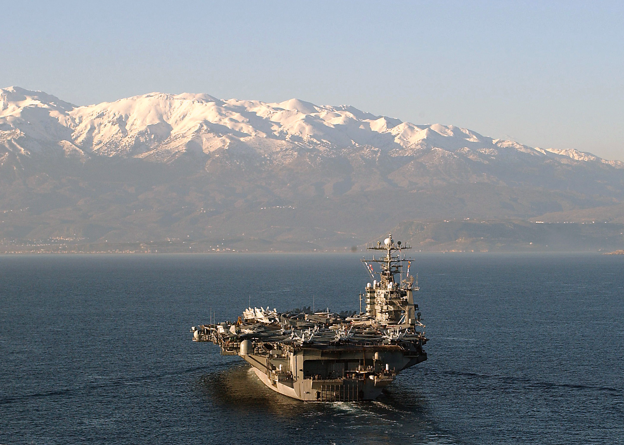 US Navy 040206-N-3653A-001 USS George Washington (CVN 73) enters Souda Bay, Crete, Greece for a port call