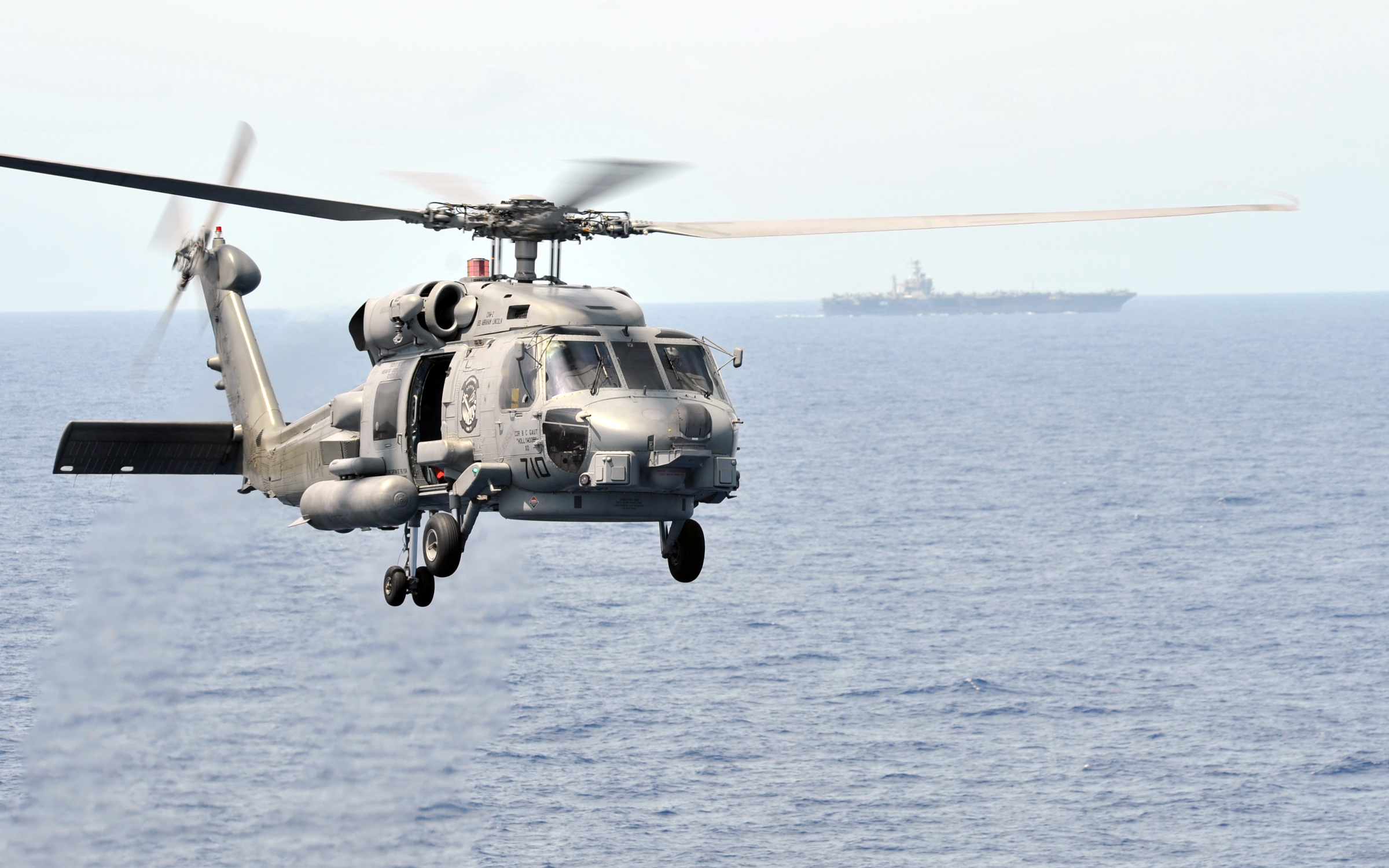 US Navy 110309-N-PM781-193 An MH-60R Sea Hawk helicopter participates in an air power demonstration