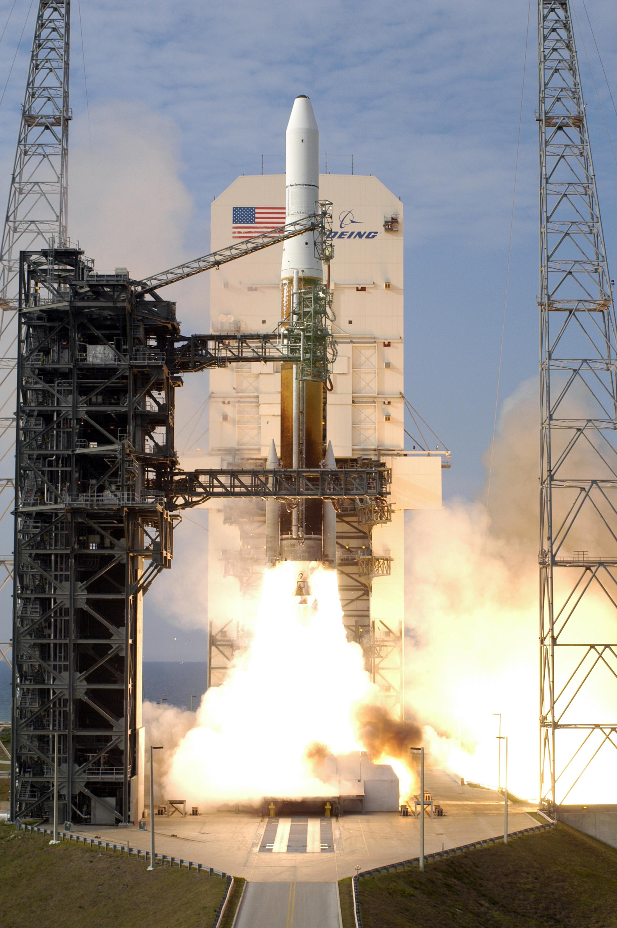 Liftoff for a Delta IV Medium+ (4,2) after its launch tower