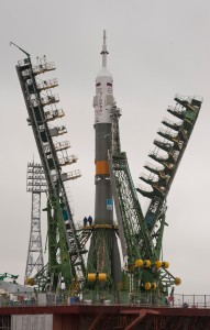 Soyuz TMA-21 spacecraft is lifted into position on the launch pad