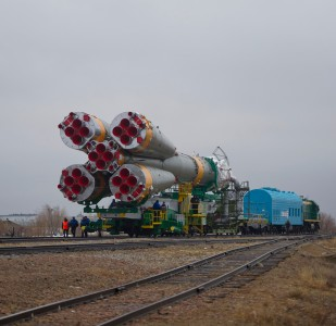 Soyuz TMA-21 spacecraft is rolled out by train