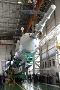 Soyuz TMA-22 spacecraft is mated with the rest of the rocket