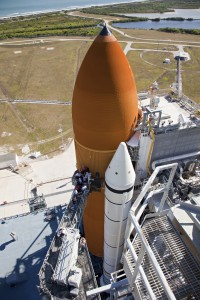 STS-133 External Tank repair on Launch Pad 39A