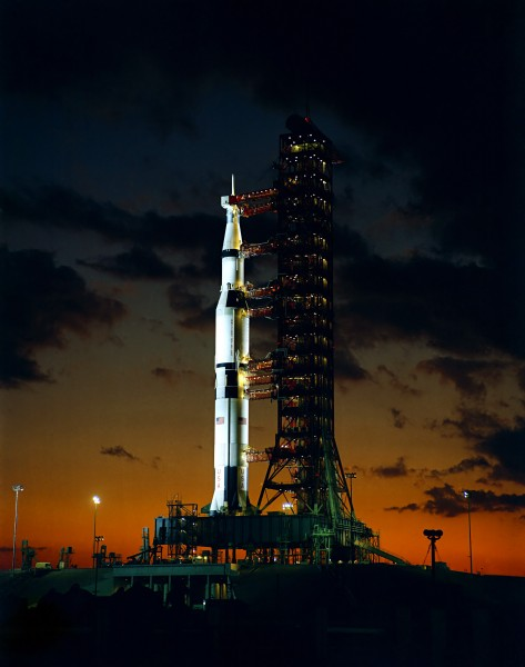 Apollo 4 on the night before launch, Kennedy Space Center, Florida, 1967