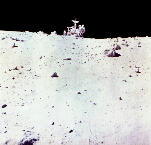 Astronaut Charles Duke with Lunar Rover on Moon - GPN-2002-000071