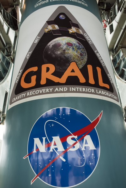 GRAIL mission logo on the first stage of the Delta II rocket