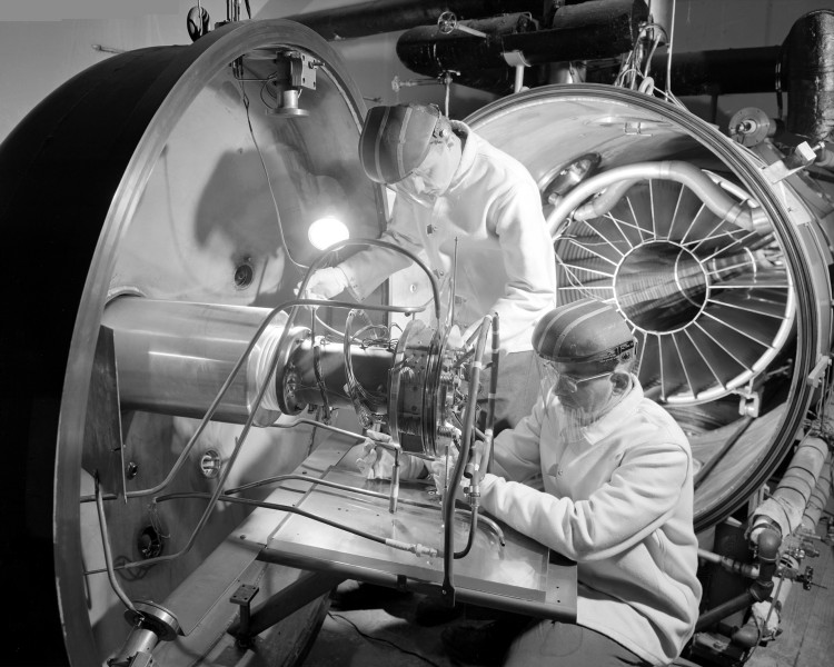 Ion Engine Being Installed in High Vacuum Tank - GPN-2000-000597