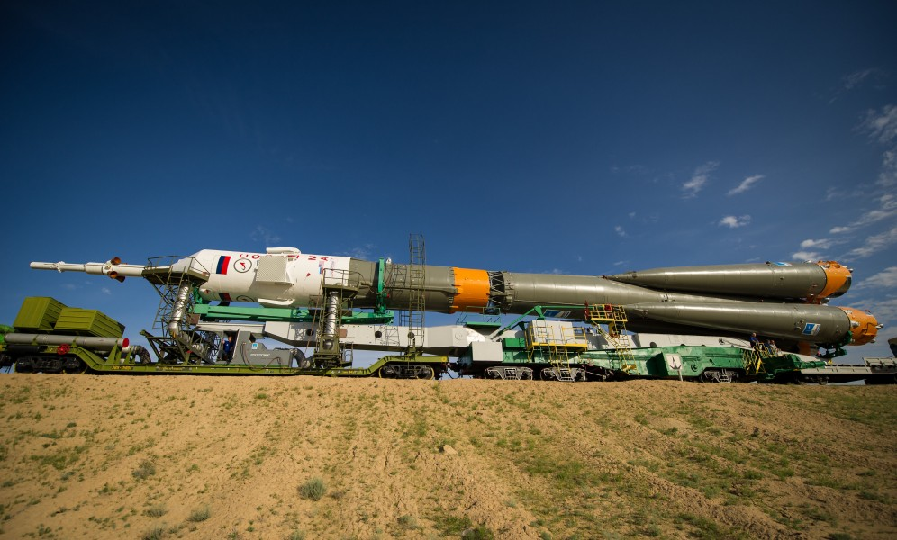 Soyuz TMA-04M spacecraft is rolled out by train